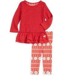 Infant Girls Burts Bees Baby Ruffle Thermal Dress Leggings Set