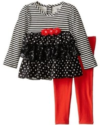 Kids Headquarters Little Girls Stripes And Print Tunic With Red Leggings