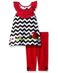 Nannette Little Girls 2 Piece Ladybug Playwear Set