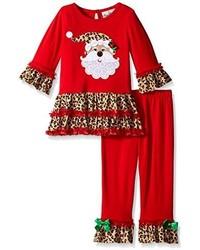 Rare Editions Little Girls Santa Applique Legging Set