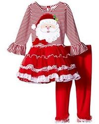 Rare Editions Little Girls Santa Applique Tutu Legging Set