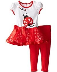 Youngland Little Girls Love Bug Valentines Applique Legging Set
