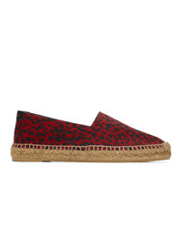 Saint Laurent Red Babycat Print Embroidered Espadrilles