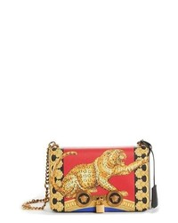 Red Leopard Leather Crossbody Bag