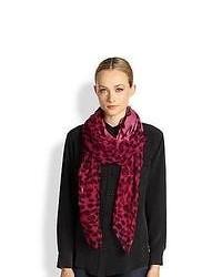 Alexander McQueen Silk Leopard Scarf Hot Pink