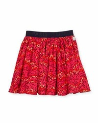 Kenzo Smocked Leopard Print Circle Skirt Fire Size 4 6