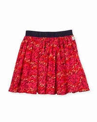 Kenzo Smocked Leopard Print Circle Skirt Fire Size 8 12