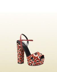 Gucci leopard print calf hair platform sandal medium 39873