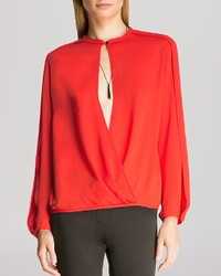 Halston Heritage Top Slit Sleeve Crossover