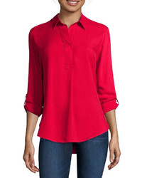 Liz Claiborne Long Sleeve Roll Tab Rayon Blouse