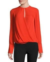 Max long sleeve silk blouse fiery red medium 855241