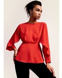 River Island Red Frill Long Sleeve Blouse