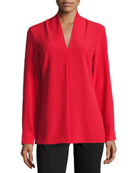 Neiman Marcus V Neck Long Sleeve Crepe Blouse Red