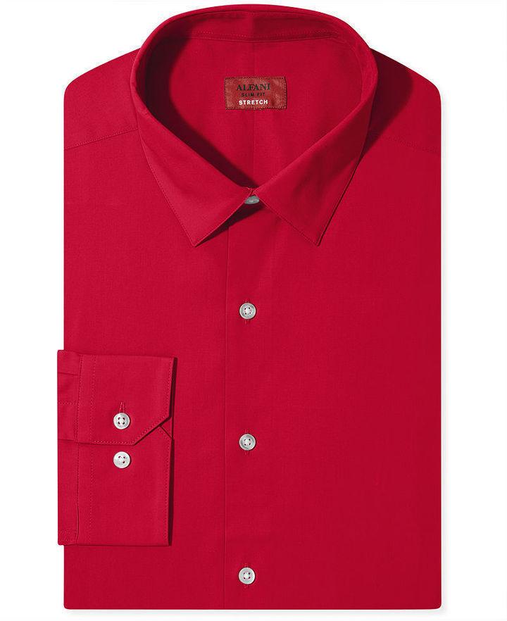 Alfani Spectrum Dress Shirt Slim Fit Solid Long Sleeved Shirt ...
