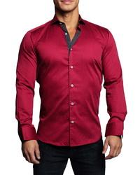 Maceoo Einstein Dotline Red Contemporary Fit Button Up Shirt