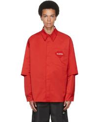 Valentino Red White Layered Garden Shirt