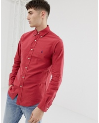 Polo Ralph Lauren Slim Fit Gart Dyed Shirt With Collar In Red