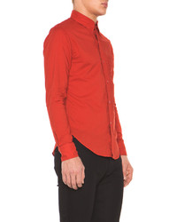 Band Of Outsiders Solid Batiste Button Down In Red