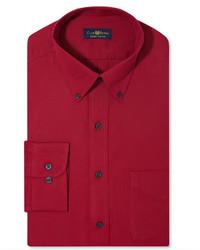 Club Room Wrinkle Resistant Claret Solid Dress Shirt