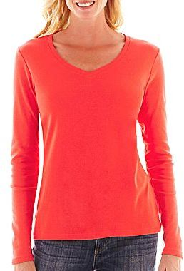 Jcpenney St Johns Bay Long Sleeve V Neck Tee Where To