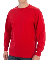 Specially Made 100% Cotton Ribbed Cuff Crew T Shirt Long Sleeve