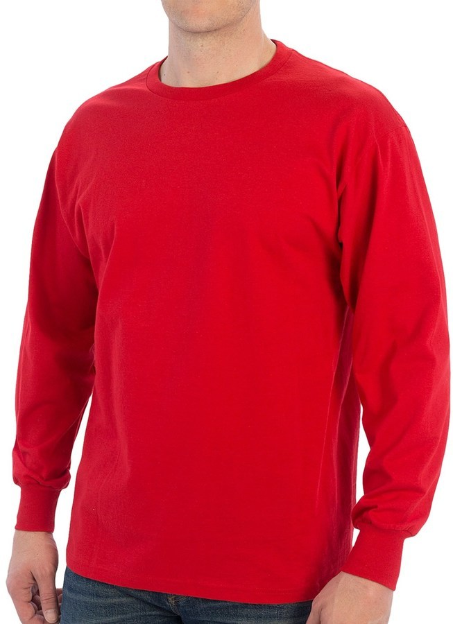 Specially Made 100% Cotton Ribbed Cuff Crew T Shirt Long Sleeve ...