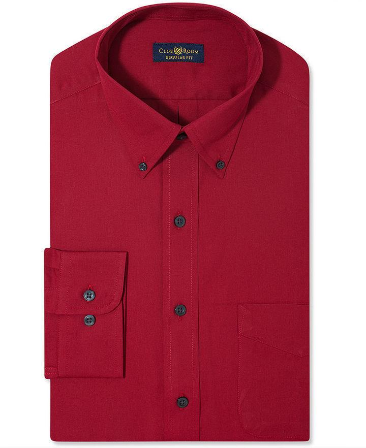 Club room wrinkle resistant claret solid dress shirt for Wrinkle resistant dress shirts