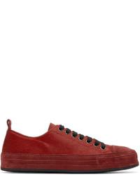 Ann Demeulemeester Red Calf Hair Sneakers