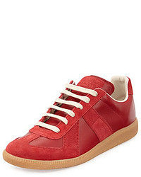 Maison Martin Margiela Replay Leather Low Top Sneaker Red
