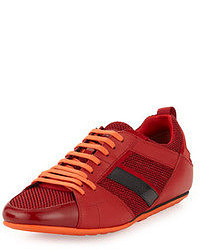 Hugo Boss Tattion Mesh And Leather Low Top Sneaker Red