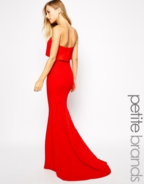 7684d64c50 ... Red Maxi Dresses Jarlo Petite Blaze Strapless Maxi Dress With Overlay  ...