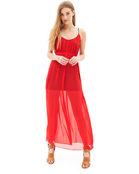 Forever 21 maxi dress red pleated