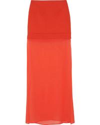 DKNY Ponte And Stretch Silk Chiffon Maxi Skirt