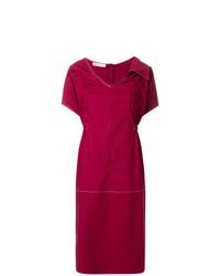 Marni Asymmetric Collar Gathered Dress