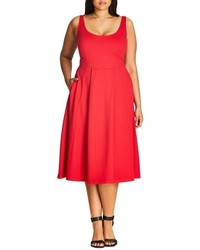 City Chic Plus Size Classic Longline Scoop Neck Midi Dress