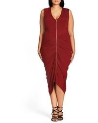 City Chic Plus Size Sexy Drape Midi Dress