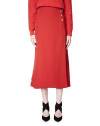 Lanvin Flared Woven Midi Skirt Poppy Red