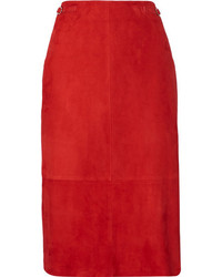 Gabriela hearst hewitt suede midi skirt red medium 1315680