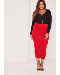 Missguided Plus Size Long Line Jersey Midi Skirt Red