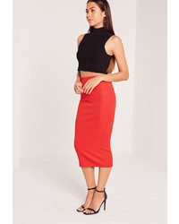 Missguided Ribbed Midi Skirt Red