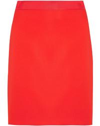Lanvin Grosgrain Trimmed Crepe Mini Skirt Red