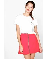Boohoo Louella Scuba Zip Front A Line Mini Skirt