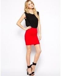 Mango Striped Textured Knit Mini Skirt