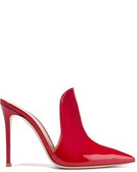 Gianvito Rossi Aramis 100 Patent Leather Mules Red