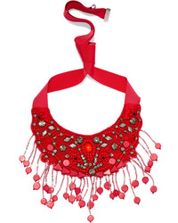 Etro Grosgrain And Bead Necklace Red