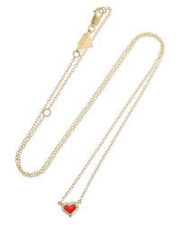 Alison Lou Heart 14 Karat Gold Enamel And Diamond Necklace