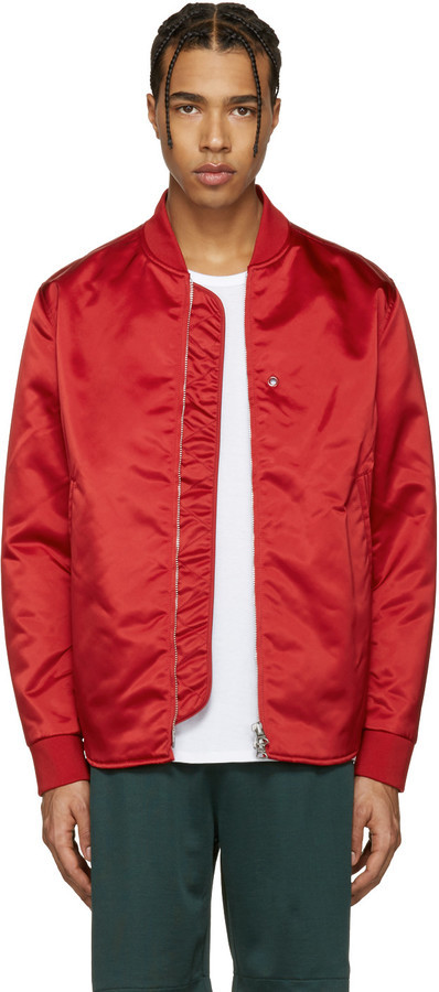Fabulous Acne Studios Red Mylon Bomber Jacket, $620 | SSENSE | Lookastic.com @QI72
