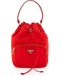 Prada Tessuto Mini Bucket Crossbody Bag Red