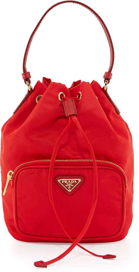 b7911844 $545, Prada Tessuto Mini Bucket Crossbody Bag Red