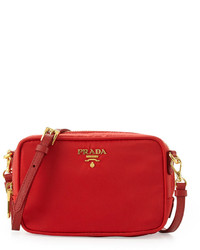 Prada Tessuto Small Crossbody Bag Red